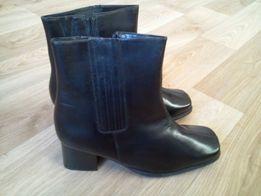 Черные полусапожки ботинки женские кожа