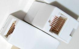 Соединитель патчкордов джойнер муфта RJ45 8P8C LAN Ethernet белый