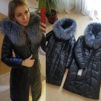 женская зимняя курточка, пуховик с эко кожи натуральная чернобурка 90