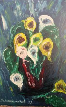 Arums oil painting on board 74 x 56 cm