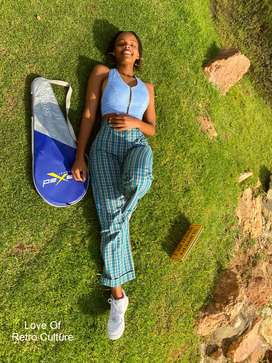 Checkered Bell Bottom Pants- Green and Blue by Love Of Retro Culture