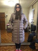 Пальто , пуховик серый фиолетовый