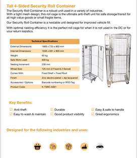 Security roll containers and hybrid dolly's