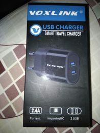 Voxlink фирменное зарядное устройство 2 х USB блок питания 5V зарядка