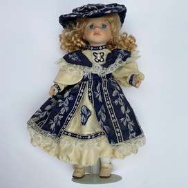90's Blonde Hair Blue Eyed Doll, in Blue Dress and Hat with Stand