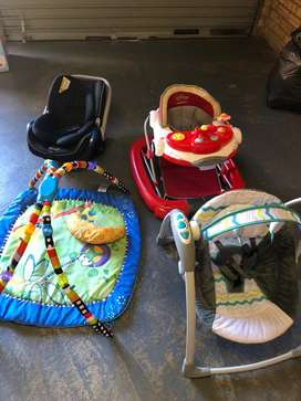 Baby car seat,swing,playmat and walker.