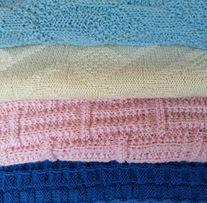 Акция!Плед покрывало для двойняшек розовый голубой натуральная пряжа