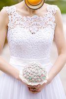 Suknia ślubna, zwiewna, romantyczna, muślin, r 38