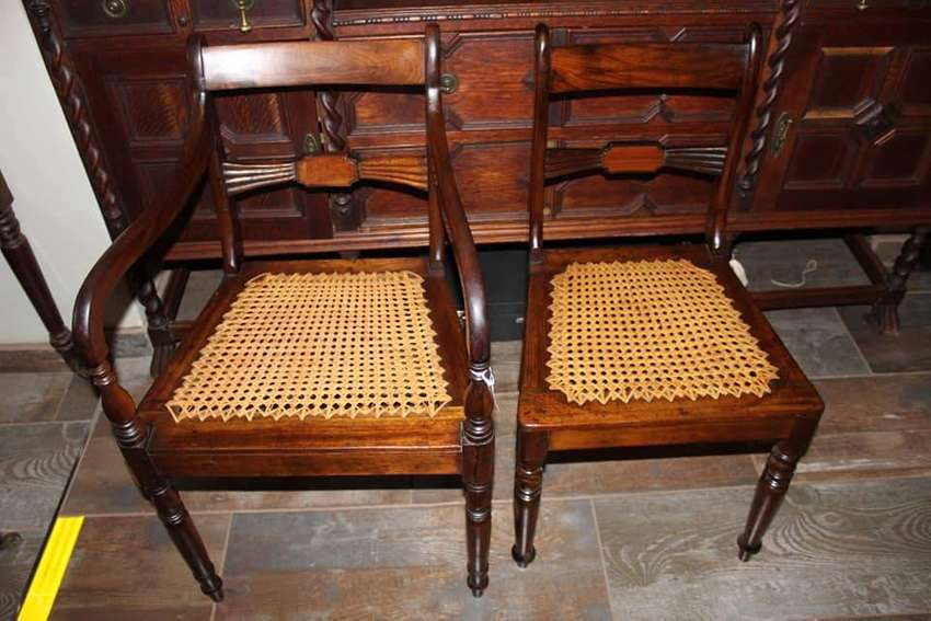 Africana Regency style stinkwood and yellowwood bow tie armchairs 0