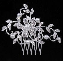 biżuteria ślubna do włosów - ozdobny grzebień stroik cyrkonie