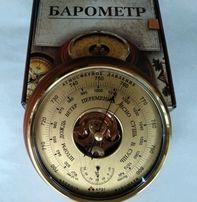 Барометр с термометром КРЭТ (Утес) БТКСН-8 (Шлифованное золото)