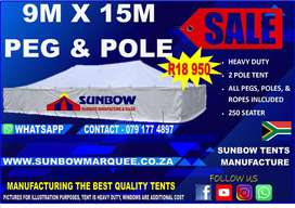 9MX15M PEG & POLE TENT FOR SALE (250 SEATER)
