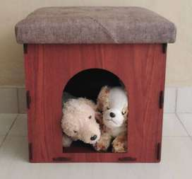 Gift Ideas: Puppy Kitty Pet House with Cushion Seat! In Brown