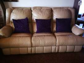 Leather Reclining Lounge Suite for sale
