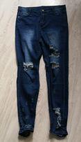 SPODNIE jeans damskie ROZ M/38 dziury jak nowe WYSOKI STAN