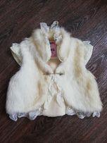 Меховая, нарядная жилетка для девочки
