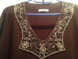 Bluzka brązowa z efektownie zdobionym dekoltem - L / XL. Jak NOWA!