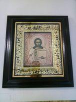 Икона Спасителя малая, медь с чеканкой, золочение 34х37см