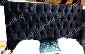 New black velvet padded headboard with buttons for queen bed