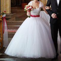 Suknia Ślubna Princessa, kryształki, cyrkonie 32-36, mały rozmiar