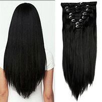 Doczepiane włosy clip in głęboka czerń 60 cm 8 tresek