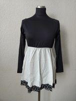 Zaful czarno biała sukienka krótka koronka S 36 długi rękaw