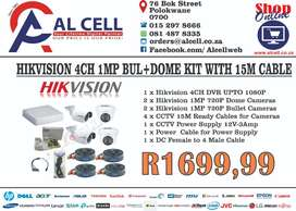 HIKVISION 4CH 1MP BUL+DOME KIT+15M CABLE