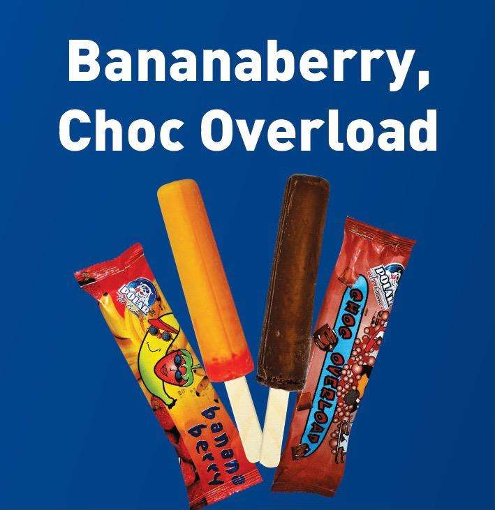 Bananaberry or Choc Overload ice creams - Box of 30 0
