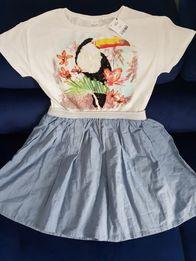 Piękna, nowa,mieniąca, wyszywana cekinami sukienka z NEXT,rozm.152