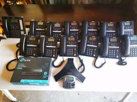 IP phones 12 Samsung hand sets+switch board phone+polycom+switch