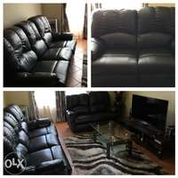 Image of price has been reduced- 3 and 2 Seater Recliner black color couch