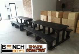 Patio, braai, restaurant, pub and car wash benches