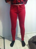 bordowe czerwone spodnie tally weijl rozmiar s złoty zamek