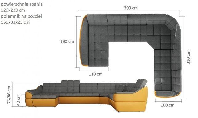 Promocja narożnik tapicerowany Infinity XL z funkcja spania Kraków - image 3