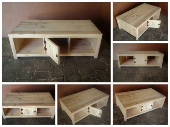 Coffee table Farmhouse series 1300 with 2 door compartment - Raw 0