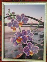 Продам картину бисером Орхидея