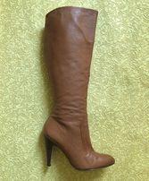 Сапоги кожаные на каблуке демисезонные коричневые Minelli размер 38