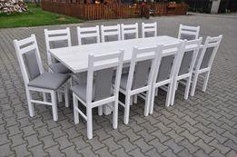 stol 185/244x95 x76 +12 krzesel bialy polysk blat dąb carton okazja