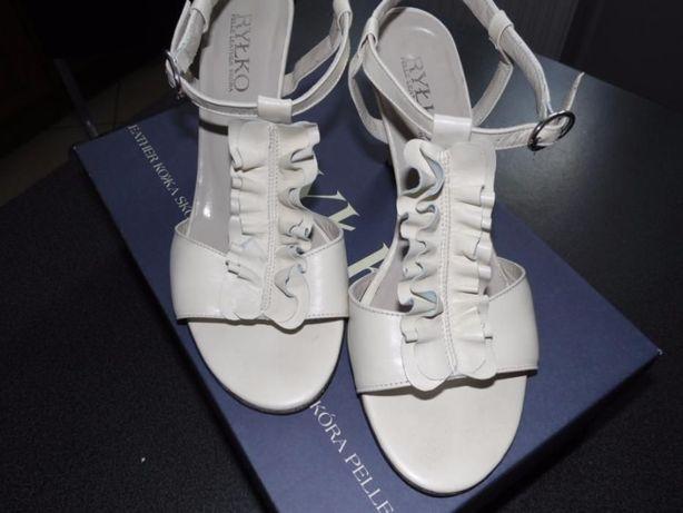 Skórzane buty kremowe, r.36,5, Ryłko Rybnik - image 3
