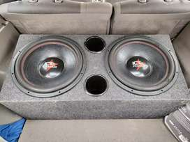 2x 7000W Ice Power 15inch subs in a competition series superwood box
