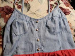 Нежное платье цвета джинс+коралловый