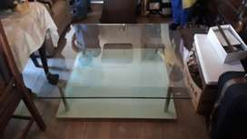 Double level glass coffee table