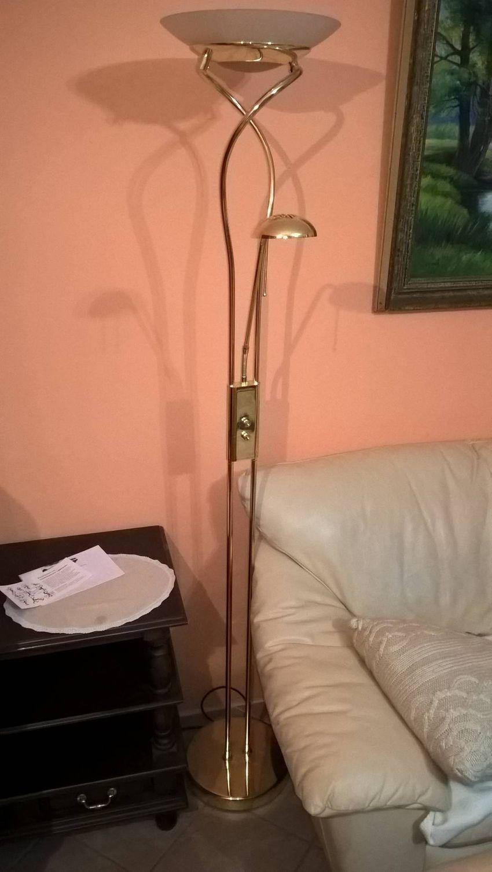 Stojací lampa zlatá 0