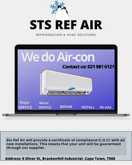 air con repairs withinstallation with Certificate of compliance