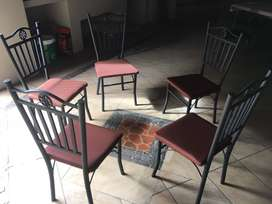 5 metal chairs very sturdy and newly upholstered.