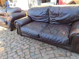 2 x genuine leather couches