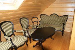 Stylowy zestaw kawowy-Ludwik-sofa, krzesła, stół do salonu
