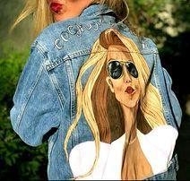 Роспись одежды джинсовок, портрет от 100 грн, картины копии Гапчинской