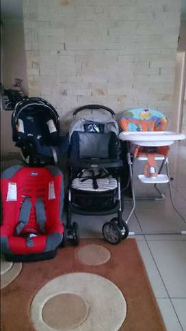 Graco Pram & Carry cot/Feeding chair and Chicco car seat for Sale