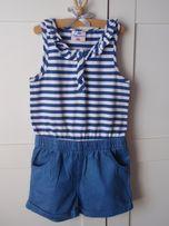 Kombinezon krótkie spodenki jeans r.122 dziewczęce sukienka 6-7 L